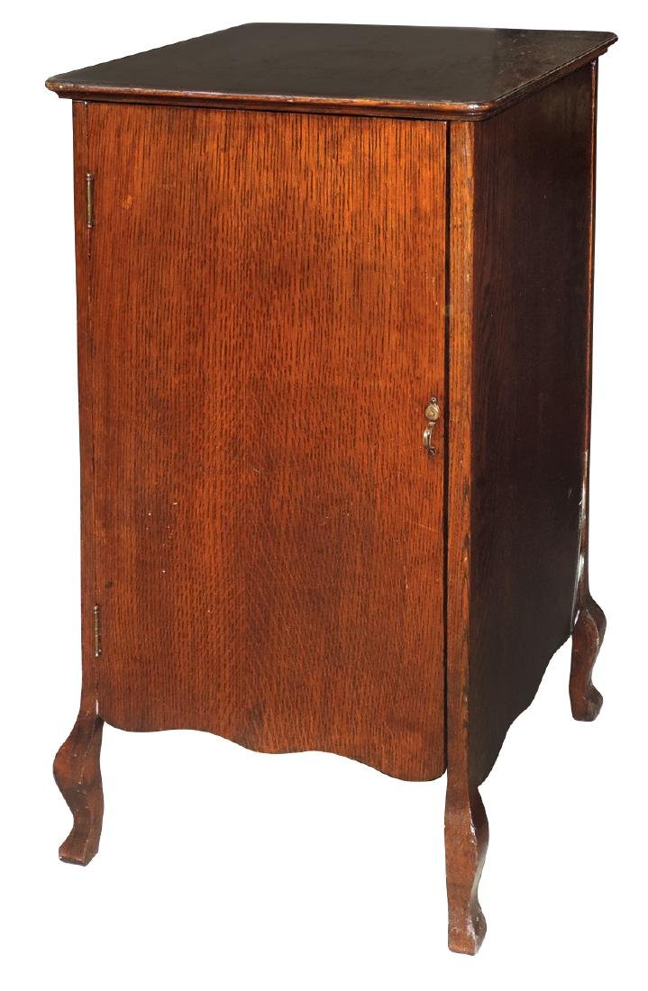 Music cabinet, cylinder record storage cabinet, oak