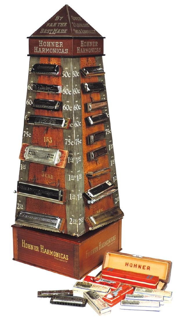 Music store harmonica display, Hohner Harmonicas,