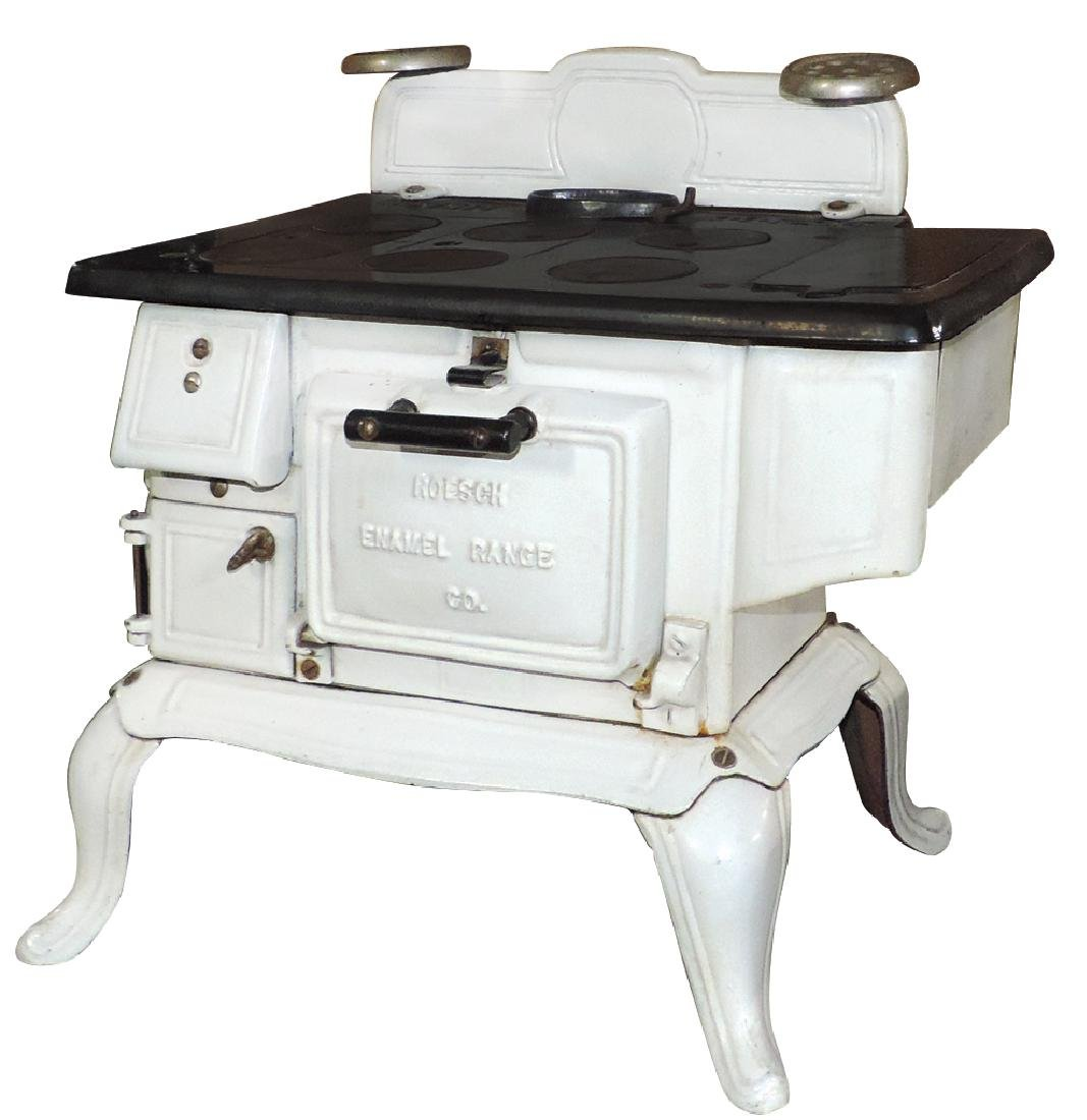 Salesman sample or toy cook stove, Roesch Enamel Range