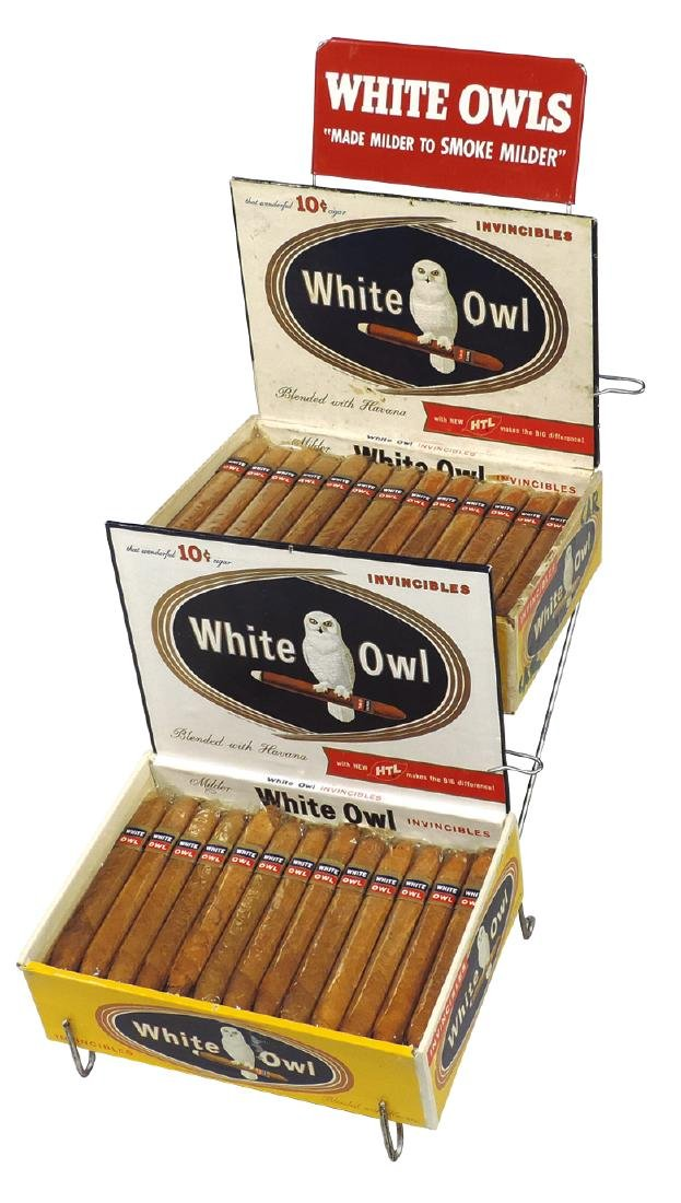 Cigar store counter display, White Owls Cigar, wire