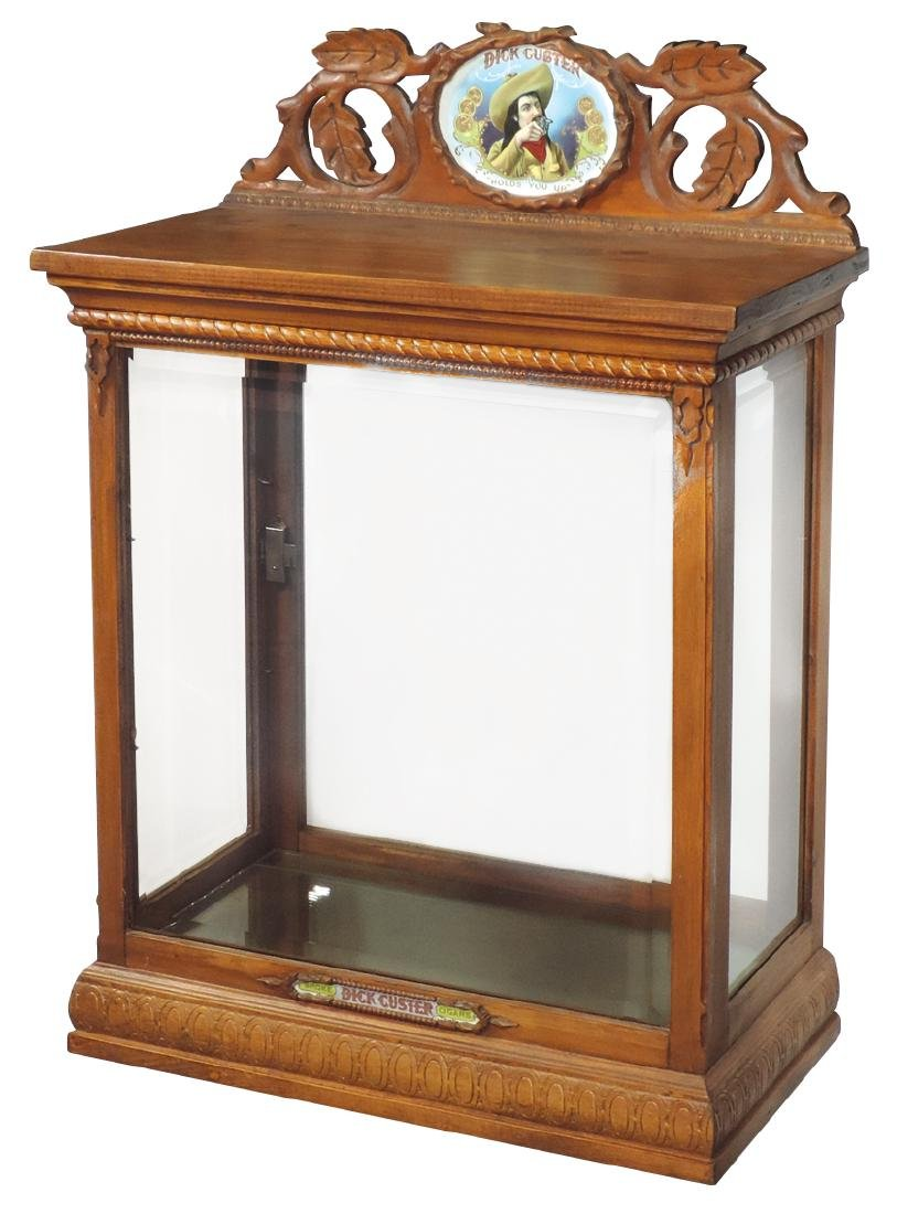 Cigar store display cabinet, carved wood advertising