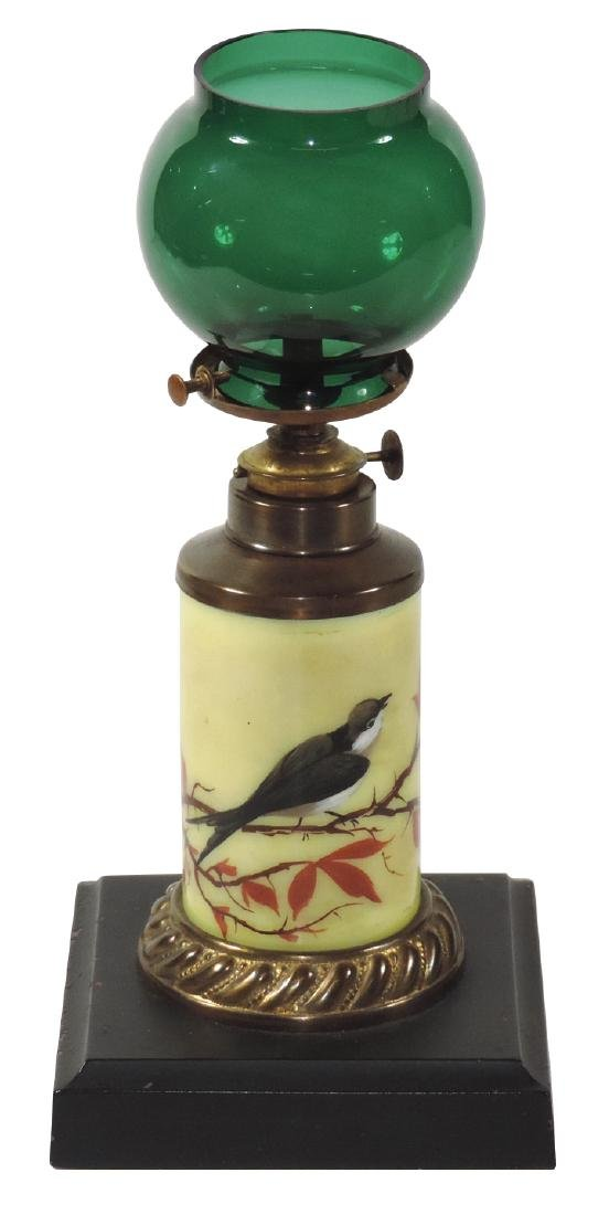 Cigar lighter, porcelain insert w/bird, green shade &