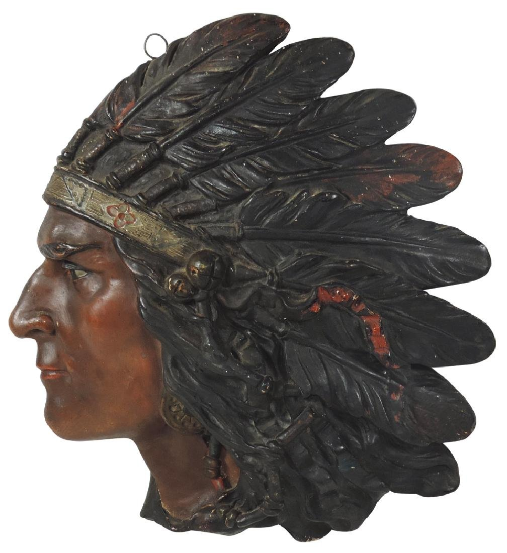 Cigar store Indian wall plaque, chalkware profile