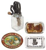 Stove advertising smalls (4), paperweights, tip tray &