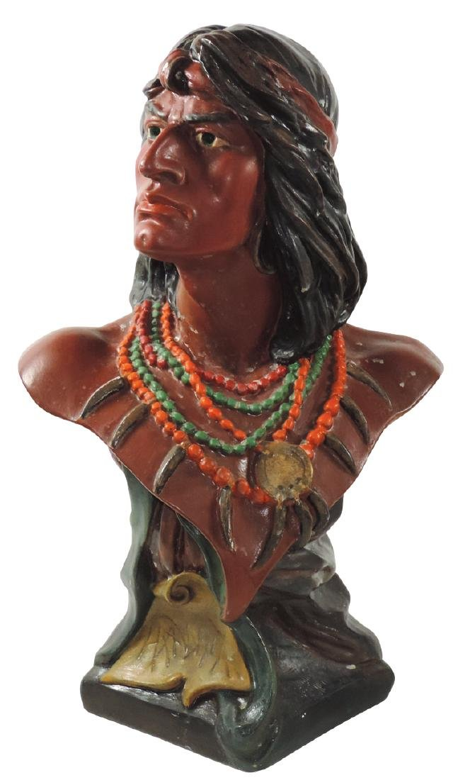 Cigar store counter display, painted chalkware Indian