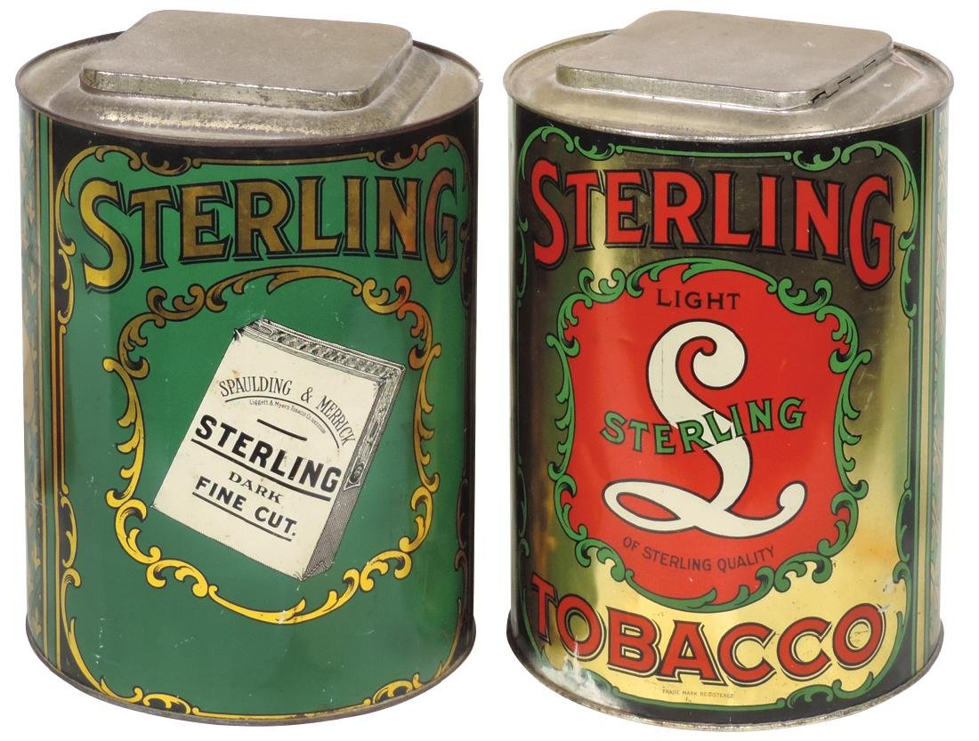 Tobacco store tins (2), Sterling Tobacco Dark &