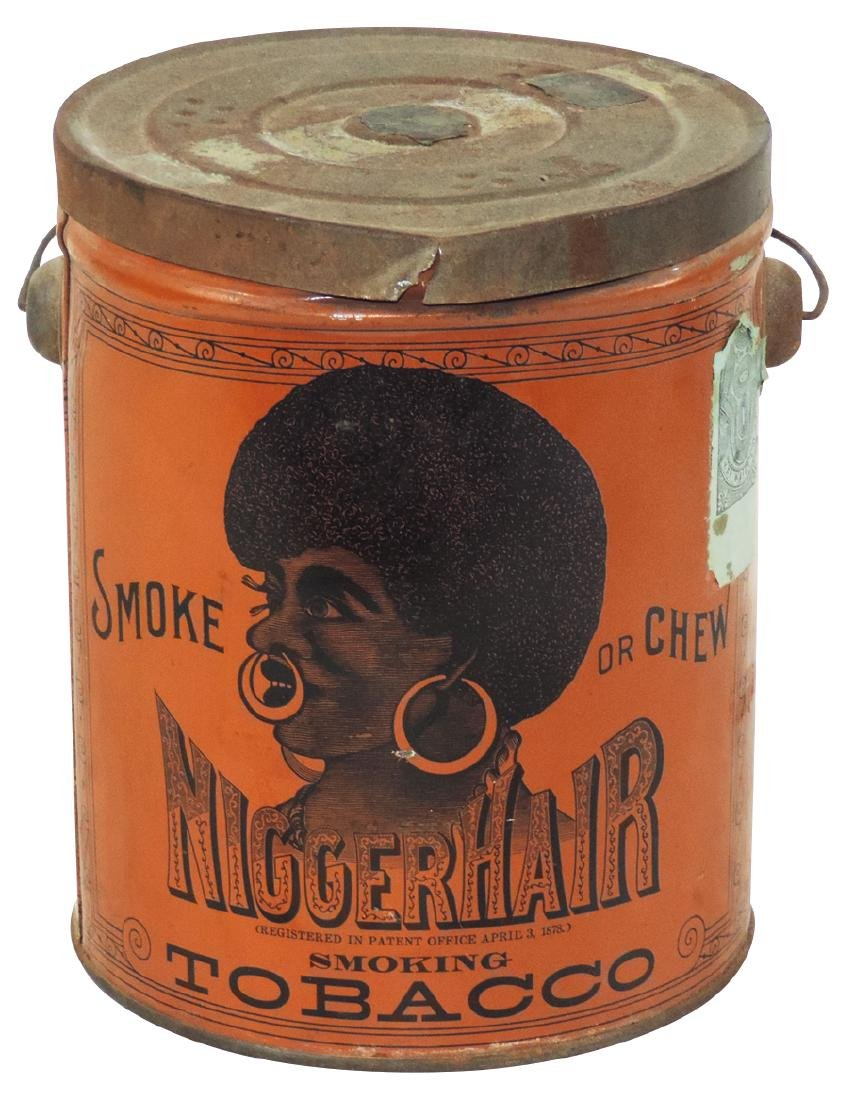 Tobacco tin, Nigger Hair Smoking Tobacco pail, VG