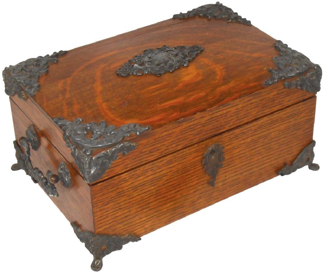 Cigar humidor, oak w/ornate iron filigree trim,