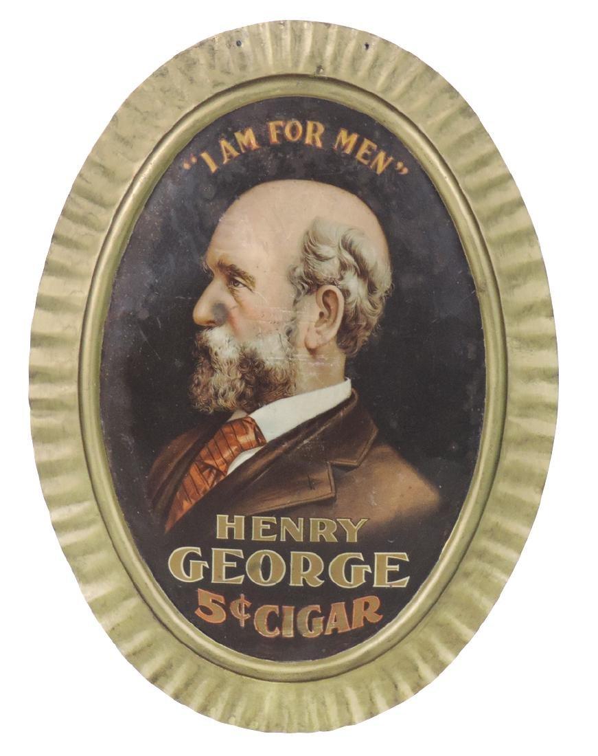 Cigar sign, Henry George 5 Cent Cigar, litho on