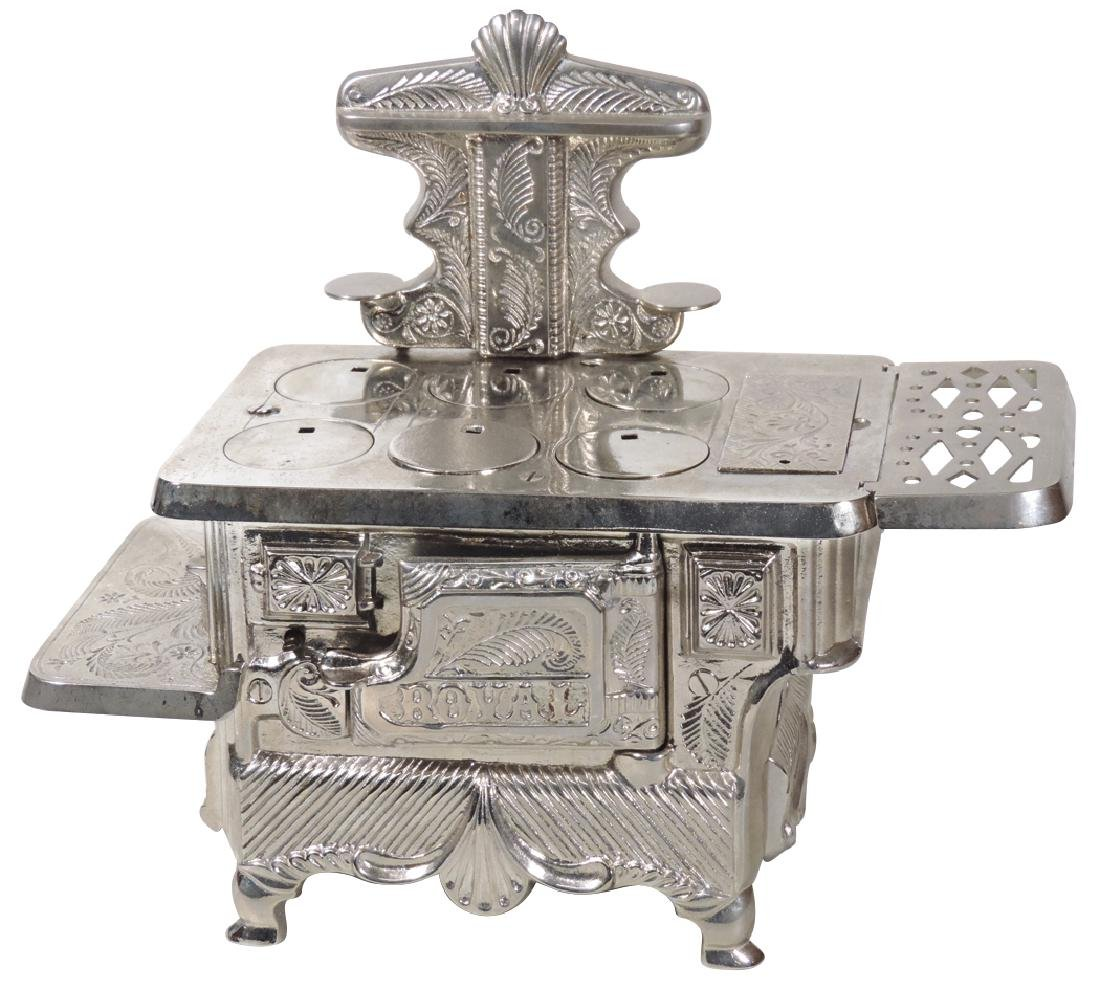 "Toy cook stove, ""Royal"", mfgd by J. & E. Stevens, fancy"