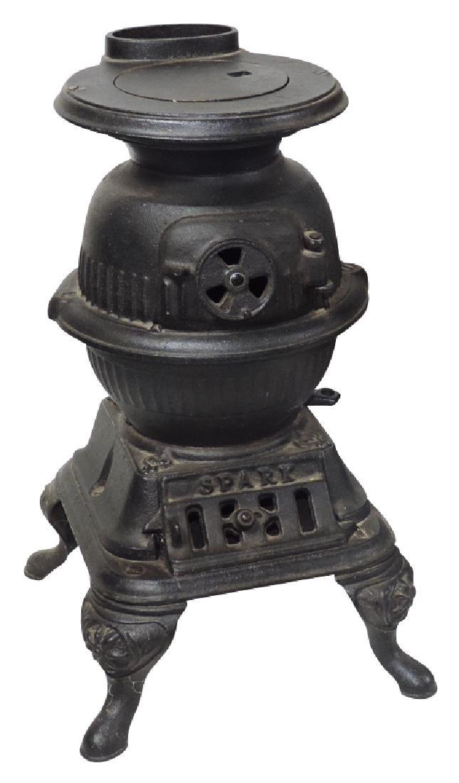 Salesman sample or toy stove, Spark, cast iron potbelly
