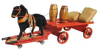 Toy horse w/wagon, early 1900's German pull toy, wood