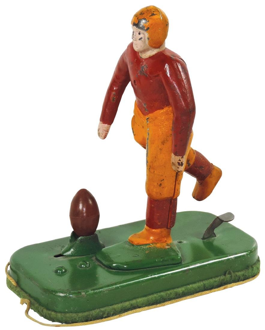 Toy football kicker, Woolsey cast iron kicker,
