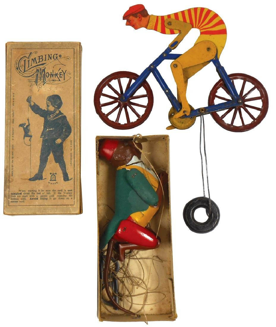 Toys (2), College Boy Bicycle string toy, will race