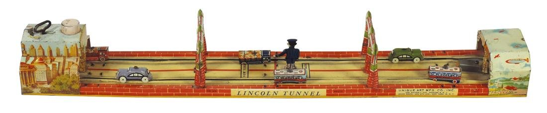 Toy, Lincoln Tunnel, mfgd by Unique Art Mfg Co., litho