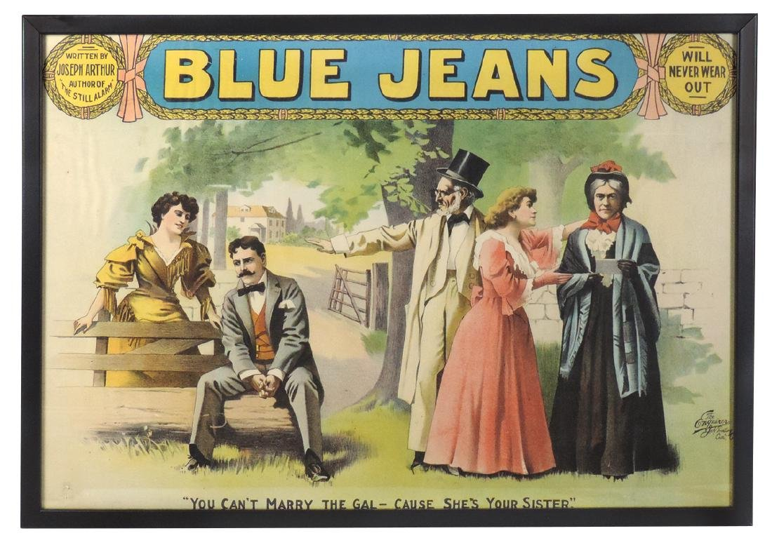 """Theater or stage advertising poster, """"Blue Jeans Will"""