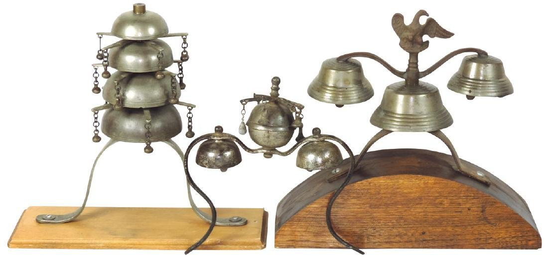 Draft horse parade bells (3), nickel-plated cast iron