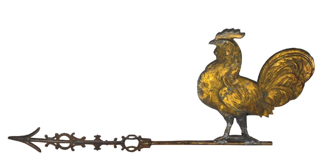 Weathervane, rooster, zinc, Good cond w/major repair at