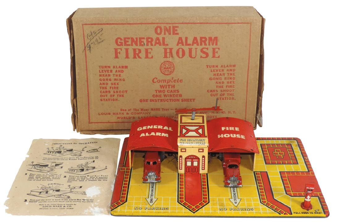 Toy firehouse, Marx General Alarm Firehouse in box,