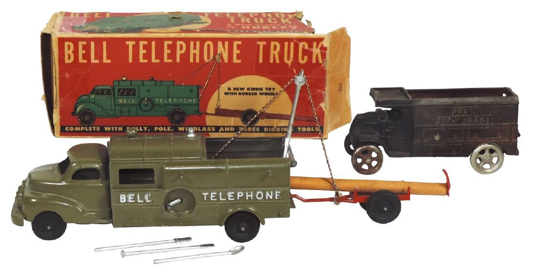 Toy Hubley Bell Telephone Truck w/box, dolly, pole,
