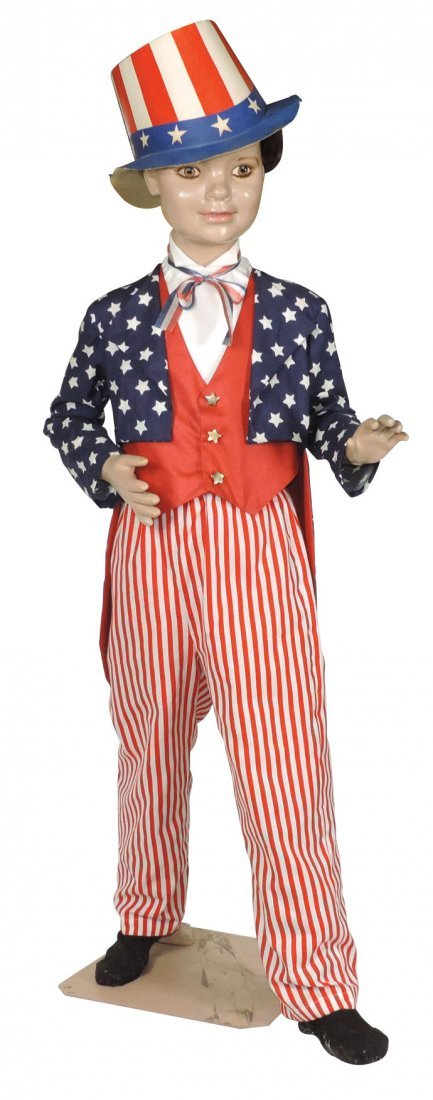 Mannequin, young boy dressed in Uncle Sam outfit