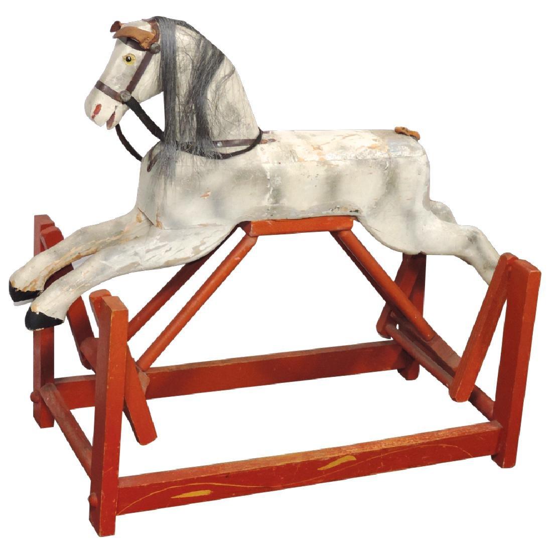 Children's platform rocking horse w/swing action, wood