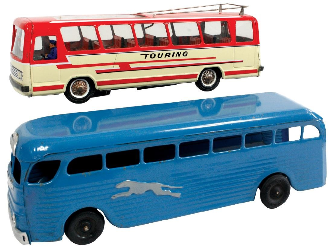 Toy buses (2), Joustra Bump 'n Go battery-operated