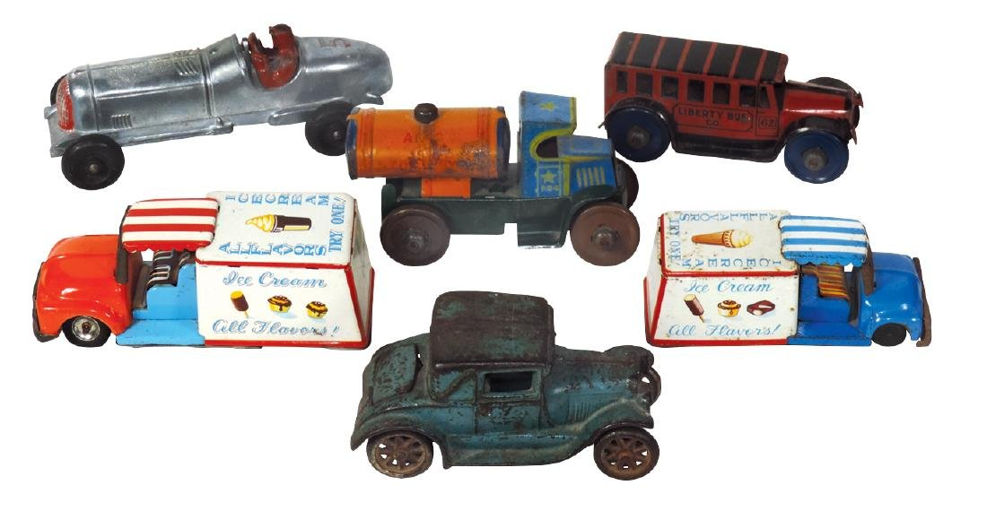 Toy car, bus & trucks (6), cast iron Arcade Cabriolet