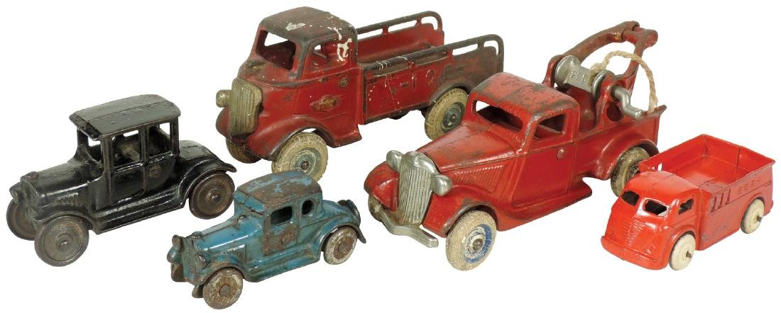 Toy cars & trucks (5), Arcade wrecker #225, ice truck,