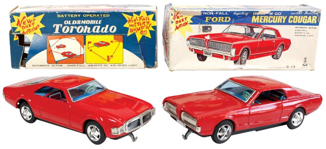 Toy cars (2) Oldsmobile Toronado & Mercury Cougar in