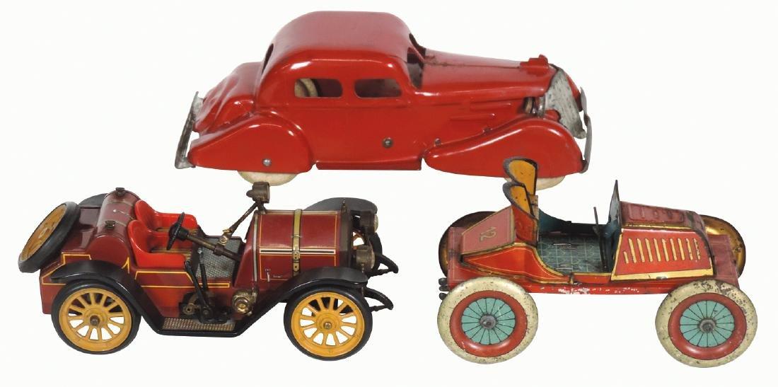 Toy cars (4), pressed steel Wyandotte sedan, VG cond,