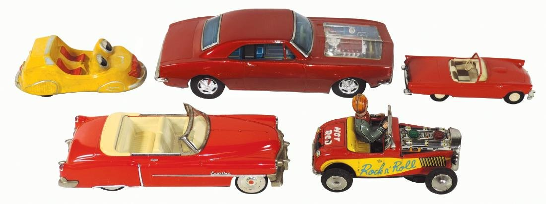 Toy cars (5), 1949 Cadillac Convertible-Japan, red