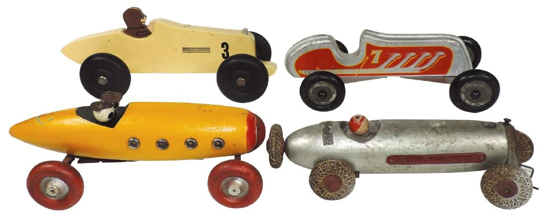 Toy race cars (4), all wood, red & yellow boat tail