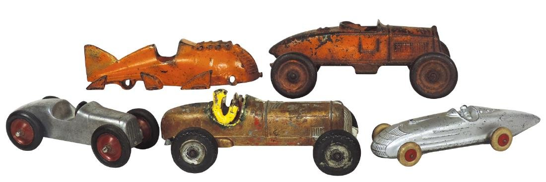 Toy race cars (5), includes Hubley (cast iron missing