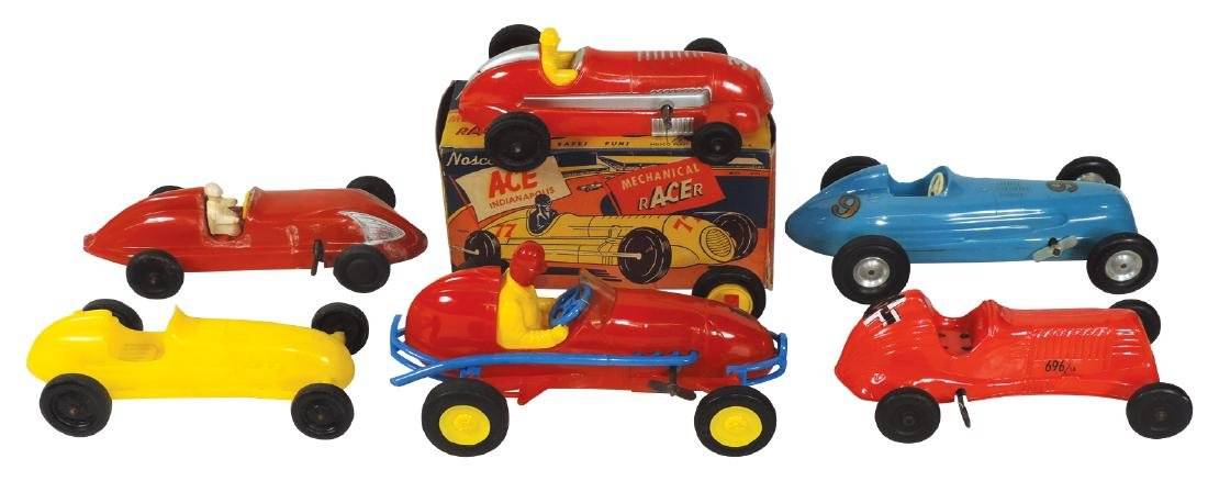 Toy race cars (6), blue windup Indy racer #9, Nosco