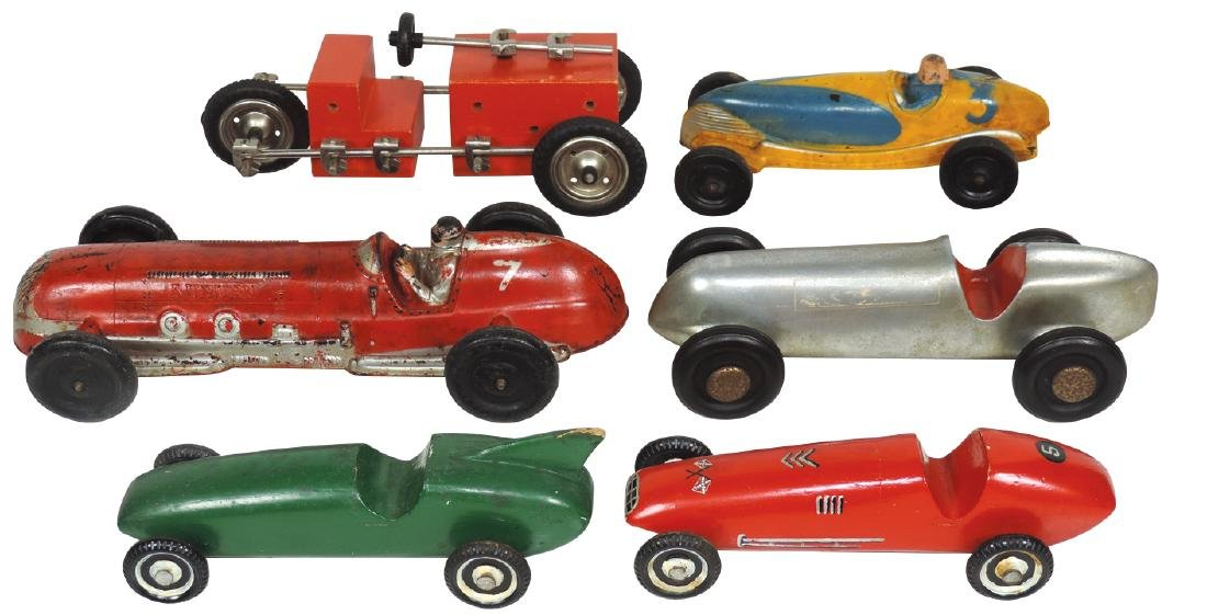 Toy race cars (6), Indy Speedway car, unmarked cast