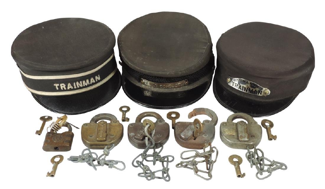 Railroad uniform caps, padlocks & extra keys (15),