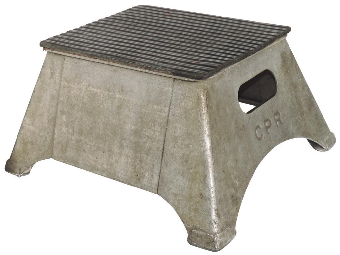 Railroad items (3), 2 step stools, both cast metal, 1