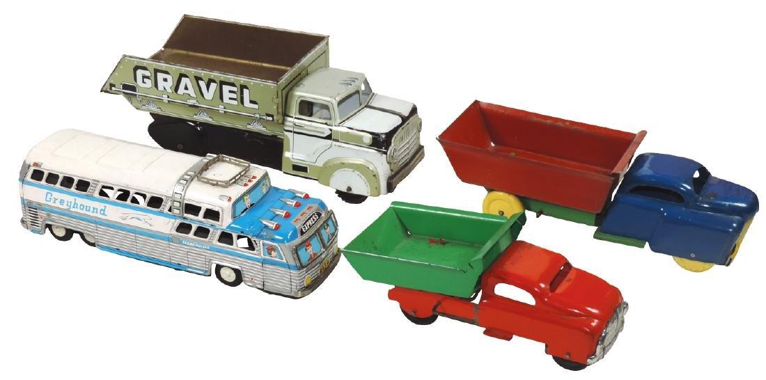 Toys (4), Japanese Greyhound Bus, Marx Gravel Truck & 2