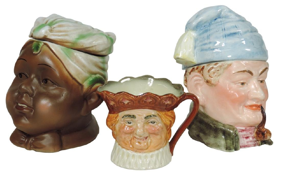 Tobacco humidors & Toby mug (3), German porcelain
