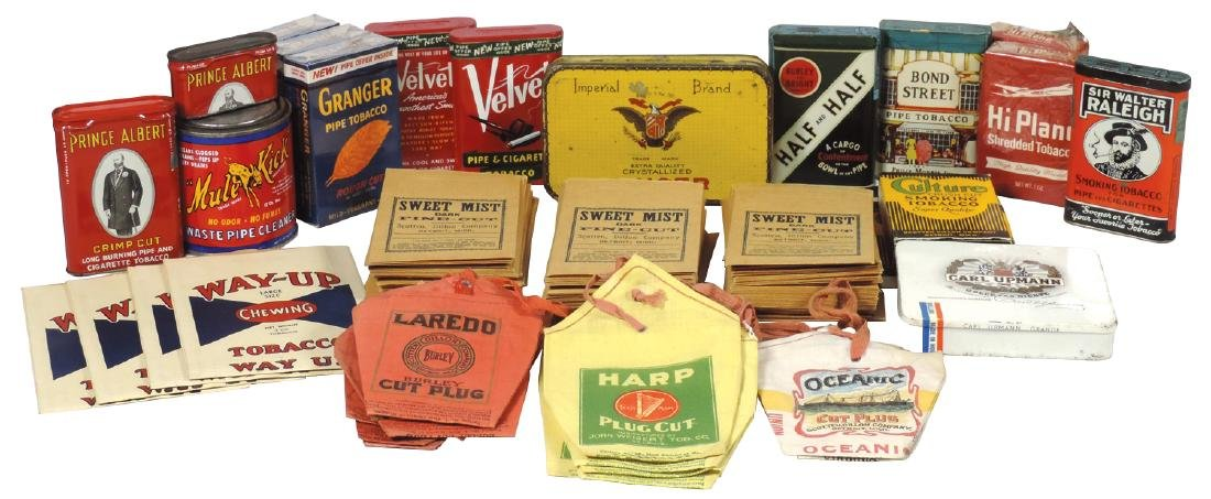 Tobacco pocket tins & pouches, (130+ items), tins for