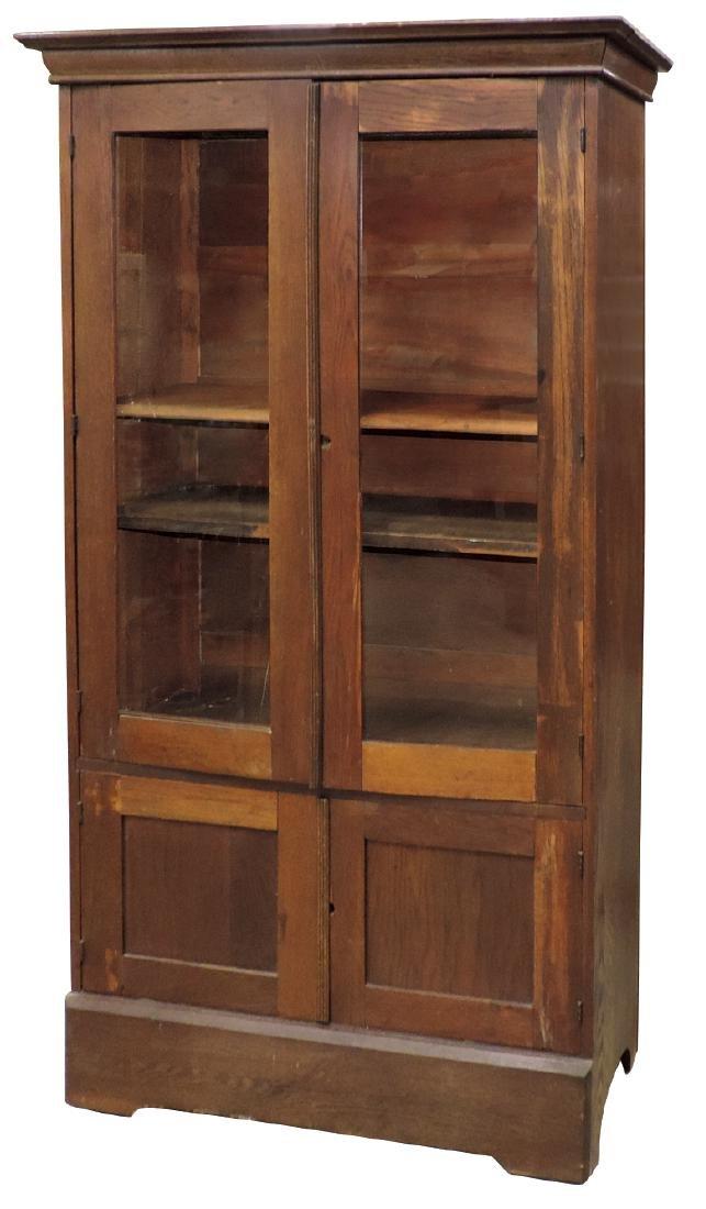 Furniture, country cupboard, oak 4 door, 2 glass doors