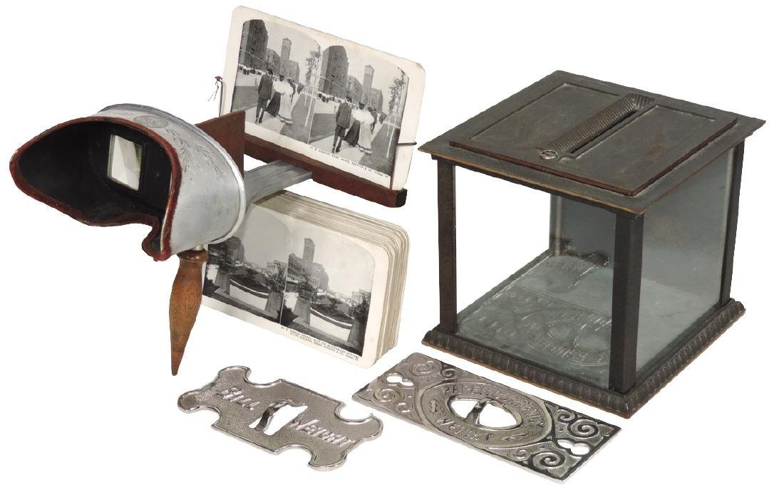Cash register items, stereoscope viewer & cards,