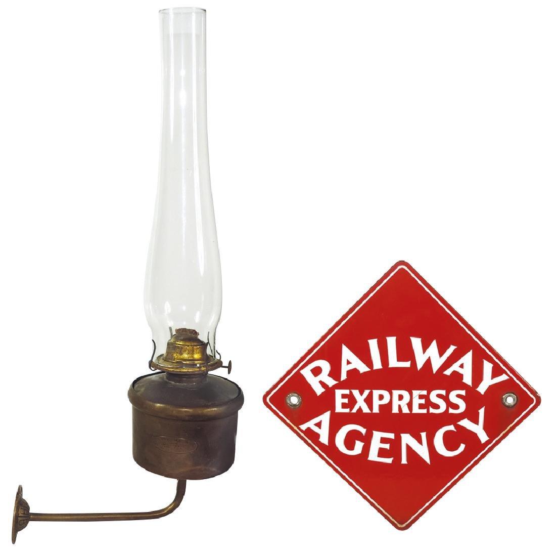 Railroad lamp & sign, Williams & Page Pullman Oil Lamp,
