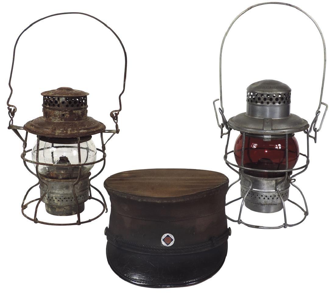 Railroad lanterns & conductor cap (3), lantern w/clear