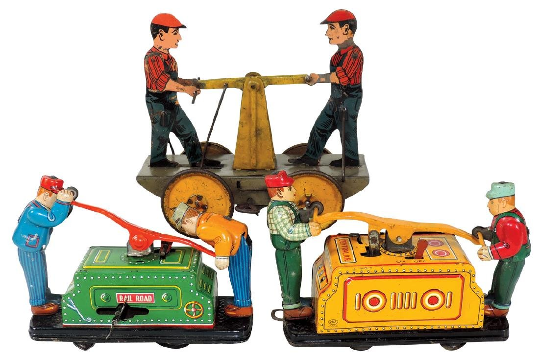 Toy railroad handcars (3), 2 by KDP-Japan other by