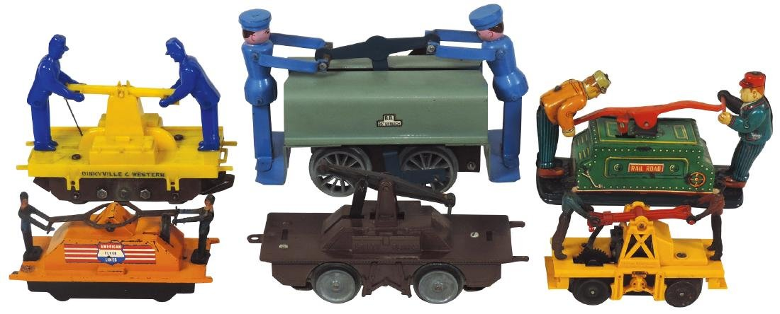 Toy railroad handcars (6), includes American Flyer,