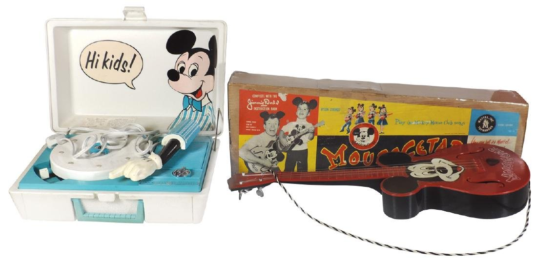 Mickey Mouse Guitar & Record Player (2), plastic