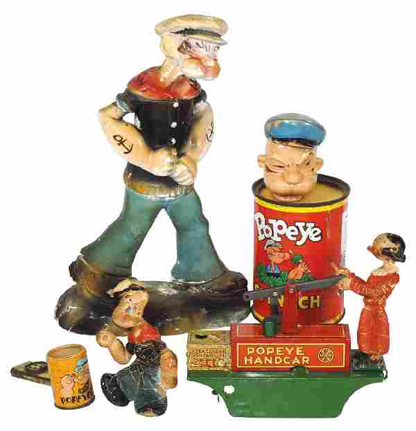 Toys (4), Popeye chalkware figure, King Features 1934