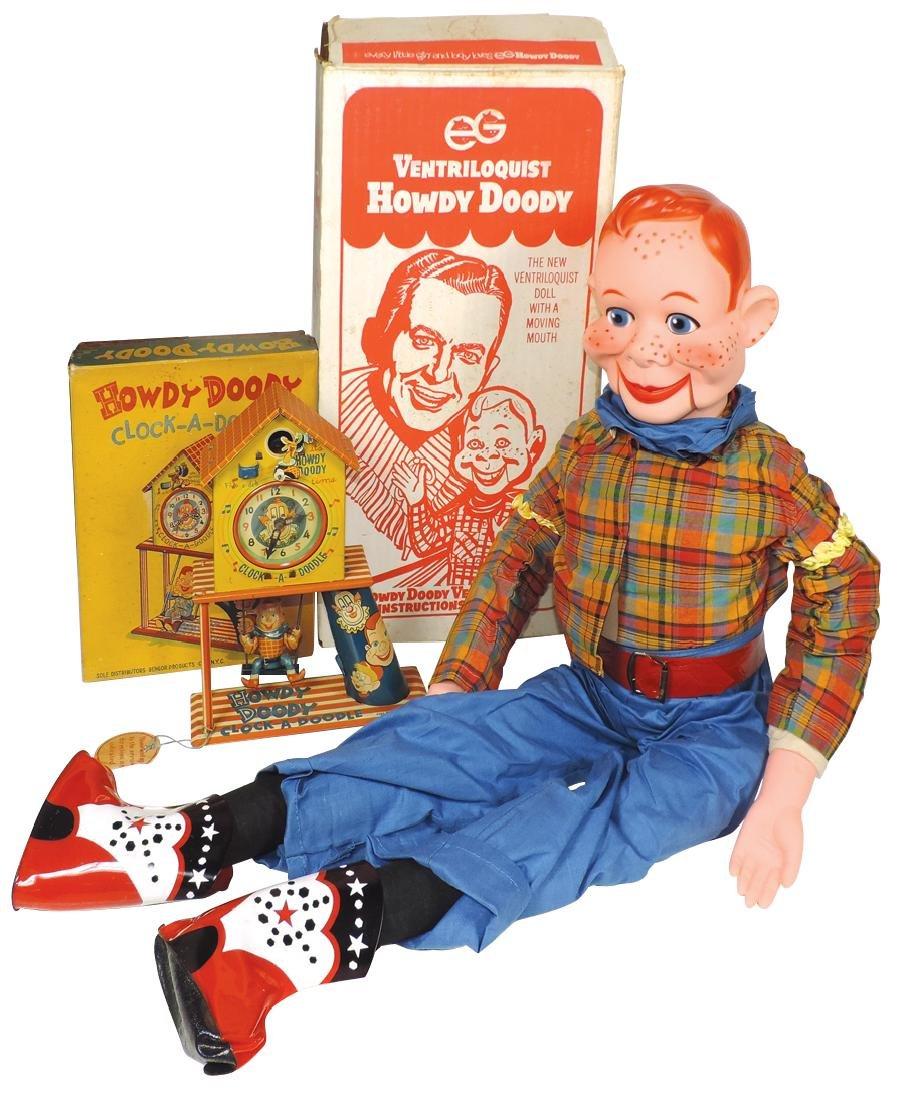 Toys (2), Howdy Doody Clock-A-Doodle litho on tin